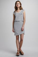 Theory Striped Blouson Dress - Lyst