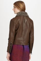 Acne Rita Leather and Shearling Jacket in Brown - Lyst