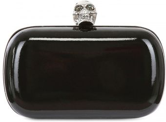 Alexander McQueen Classic Skull Patent Leather Box Clutch - Lyst