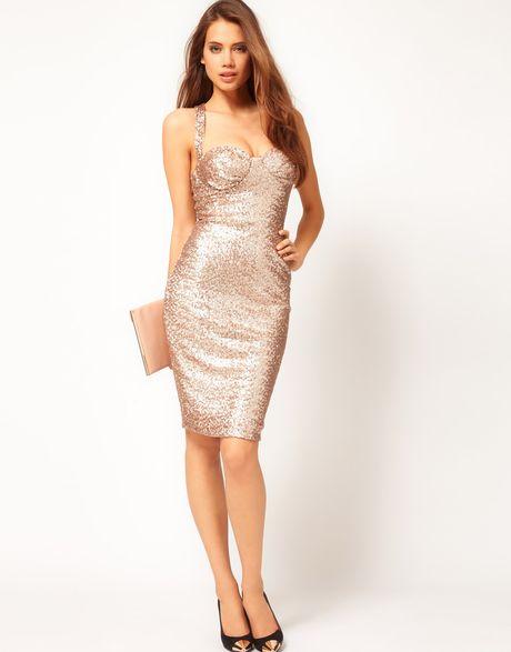 1eeb3c6ac5e Asos Sexy Bodycon Dress In Sequin in Gold (rosegold)