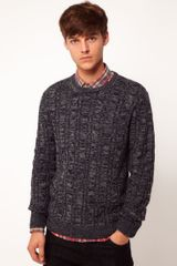 Asos Brand Cable Crew Neck Jumper - Lyst