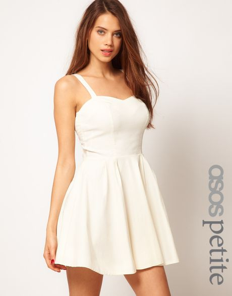 Asos Strappy Skater Dress in Beige (cream) - Lyst