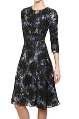 Erdem Silk Lace On Printed Silk Crepe Dress - Lyst