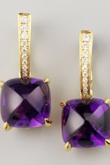 Frederic Sage Clip Amethyst Diamond Drop Earrings - Lyst