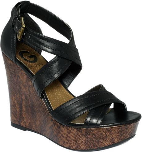 G By Guess Lasino Platform Wedge Sandals in Black (black/snake) - Lyst