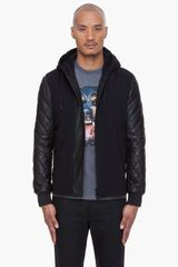 Givenchy Black Quilted Leather Hoodie - Lyst