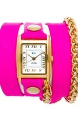 La Mer Collections Neon Pink Gold Motor Chain Wrap