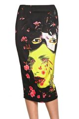 Manish Arora Printed Viscose Satin Pencil Skirt - Lyst
