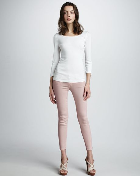 Mother Looker Cropped Skinny Jeans in Pink (pop muted mauve)