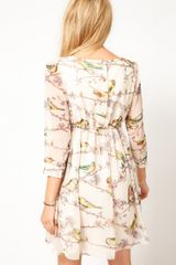 Ted Baker Dress with Bird Print in Beige (ecru) - Lyst