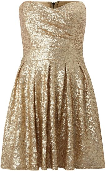 Tfnc Sweetheart Sequin Puff Skirt Dress - Lyst