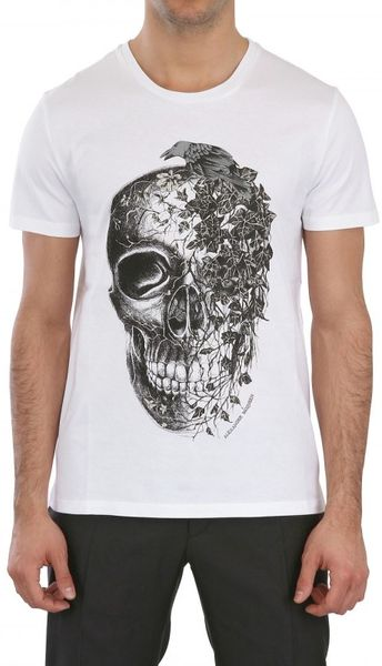 Alexander Mcqueen Skull Printed Jersey Tshirt in White for Men - Lyst