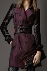 Burberry Mid Length Ponyskin Sleeve Cotton Gabardine Trench Coat - Lyst