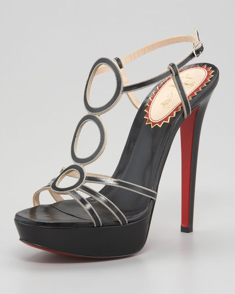 Christian Louboutin Troisronds Leather Sandal in Black - Lyst