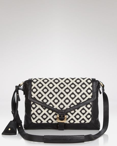 Diane Von Furstenberg Crossbody Drew Jacquard with Ipad Sleeve in Black (cream black) - Lyst