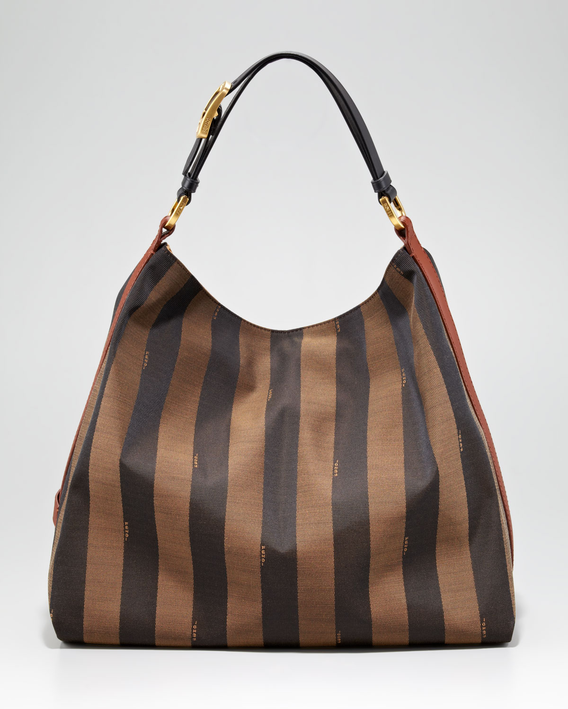 61897eb01dc Lyst - Fendi Pequin Tonal Stripe Hobo in Brown