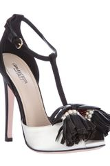 Giambattista Valli Tassel Sandal in White (black) - Lyst