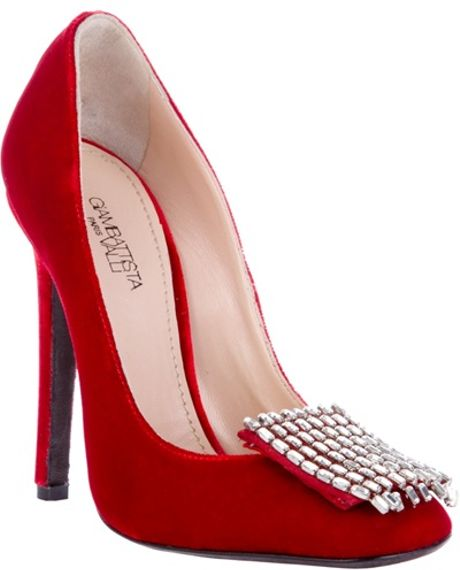 Giambattista Valli Velvet Pump with Crystals in Red - Lyst