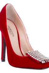 Giambattista Valli Velvet Pump with Crystals