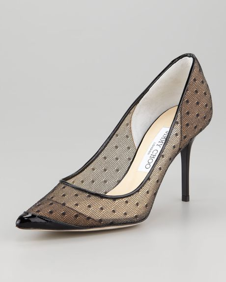 Jimmy Choo Begonia Dotted Tulle Pump in Black - Lyst