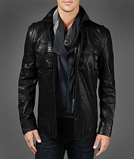 John Varvatos Leather Shirt Jacket in Black for Men | Lyst