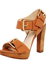 Kors By Michael Kors Chiali Leather Buckled Platform Sandals - Lyst