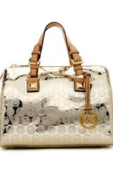 Michael by Michael Kors Medium Grayson Monogram Satchel Gold - Lyst