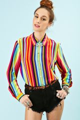 Nasty Gal Over The Rainbow Silk Top - Lyst