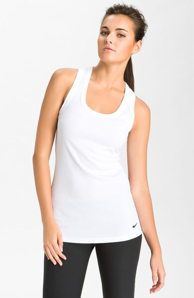 Nike Tight Chill Poly Legend Ribbed Tank in White - Lyst
