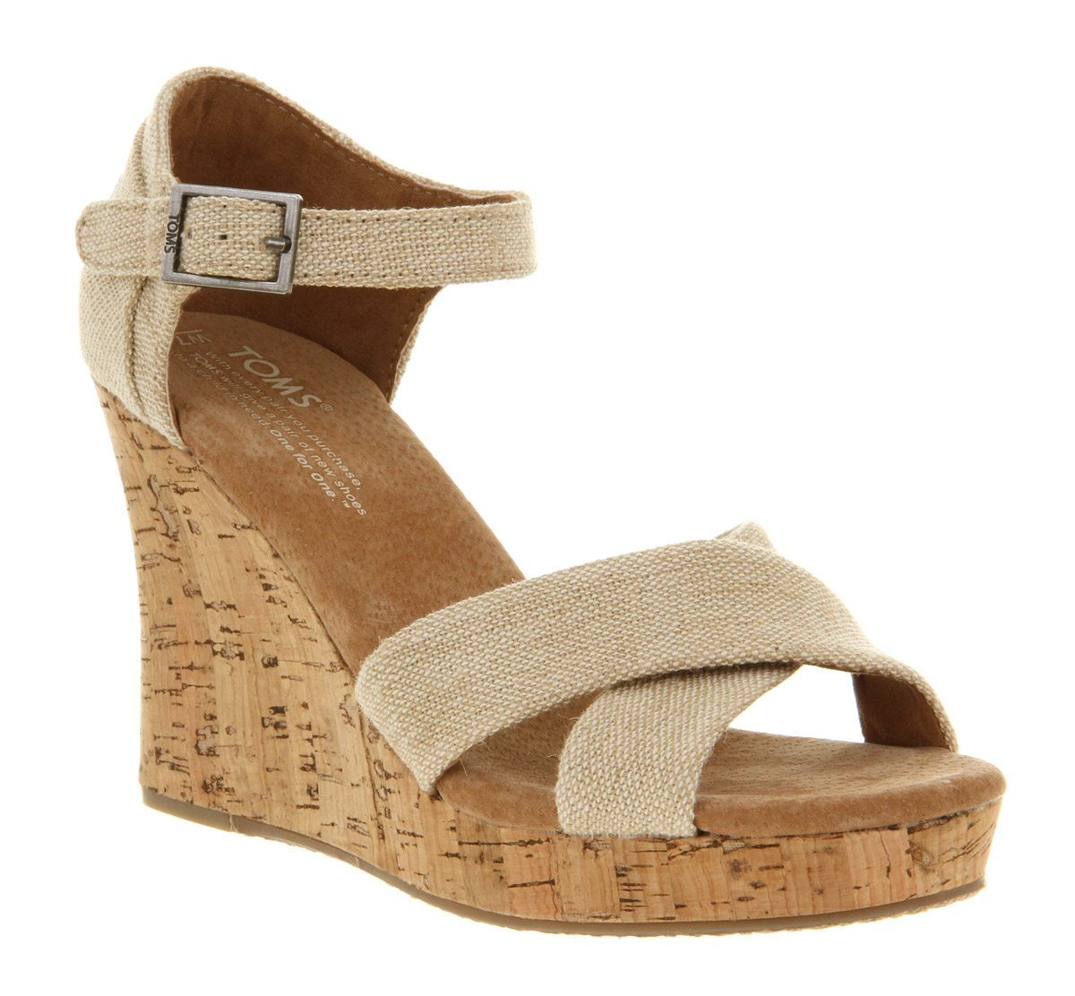 Toms Strappy Wedge Sierra In Natural Lyst