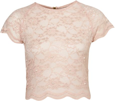 Topshop Pearl Lace Crop Top By Rare in Pink (peach) - Lyst