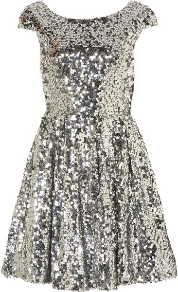 Topshop Sequin Skater Dress in Silver - Lyst