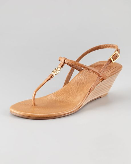 Tory Burch Emmy Demiwedge Thong Sandal in Brown (royal tan)