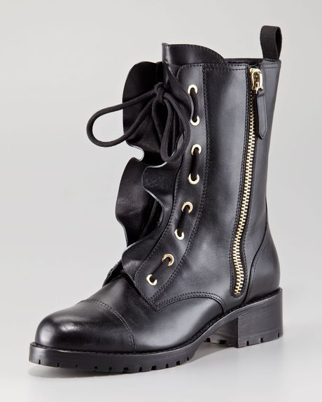 Valentino Ruffled Laceup Biker Boot in Black - Lyst