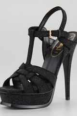 Saint Laurent Tribute Textured Sandal - Lyst
