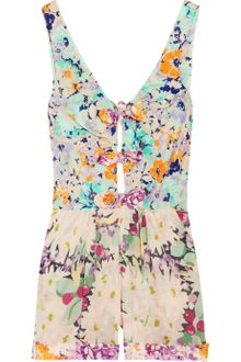 Zimmermann Posy Floral-print Cotton-voile Playsuit - Lyst