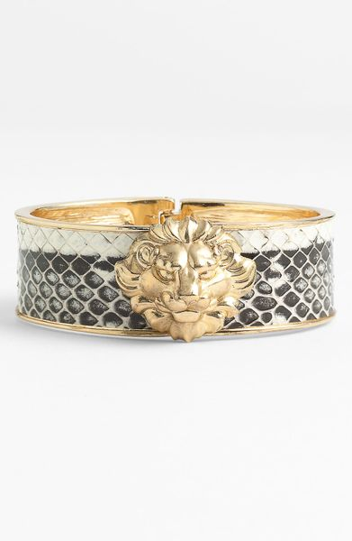 Ak Anne Klein Presidio Lion Head Bangle in Gold (python/ gold)