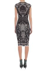 Alexander Mcqueen Black Victorian Puckering Lace Jacquard Capsleeve Pencil Dress in Black - Lyst