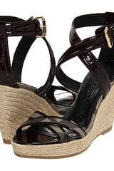 Burberry Check Patent Leather Espadrille Wedges - Lyst