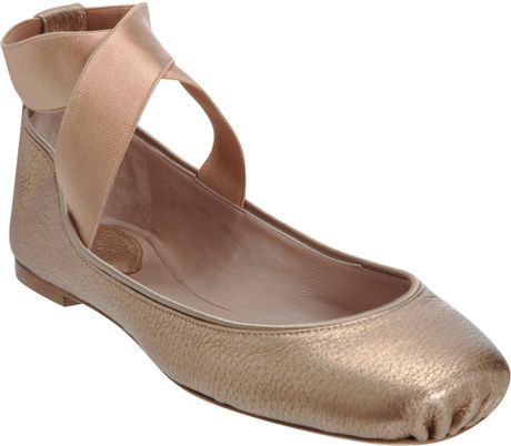 Chloé Square Toe Ballerina Flat in Gold (champagne)