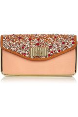 Chloé Sally Swarovski Crystal -Embellished Leather Clutch