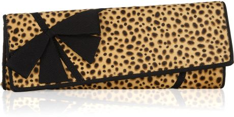 Christian Louboutin La Valliere Asymmetric Printed Calf Hair Clutch in Brown (black)