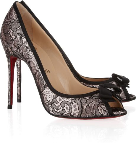 Christian Louboutin Milady 100 Chantilly Lace and Satin Peeptoe Pumps in Black