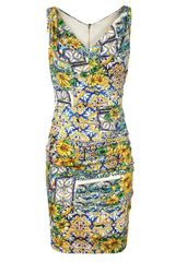 Dolce & Gabbana Floral Printed Ruched Silk Dress in Multicolor (multi) - Lyst