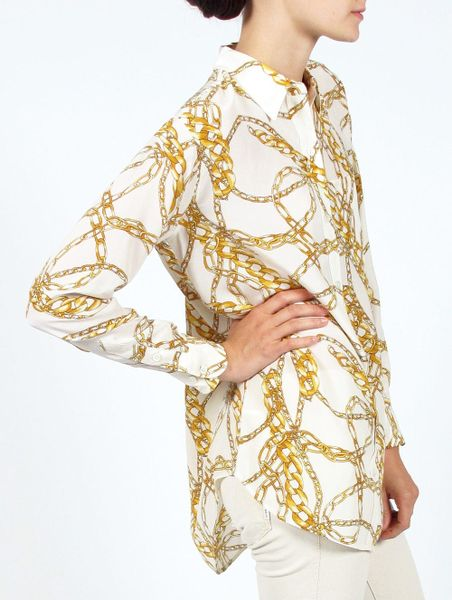 Equipment Daddy Antonia Scarf Print Blouse In White Gold