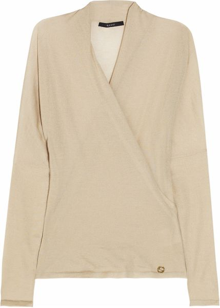 Gucci Fineknit Cashmere Wrapeffect Top in Beige (oatmeal)