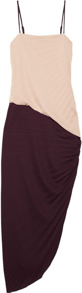 Halston Heritage Colorblock Pleated Crepe Dress - Lyst