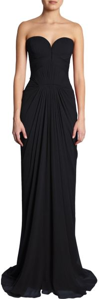 J. Mendel Sweetheart Bodice Gown in Black - Lyst