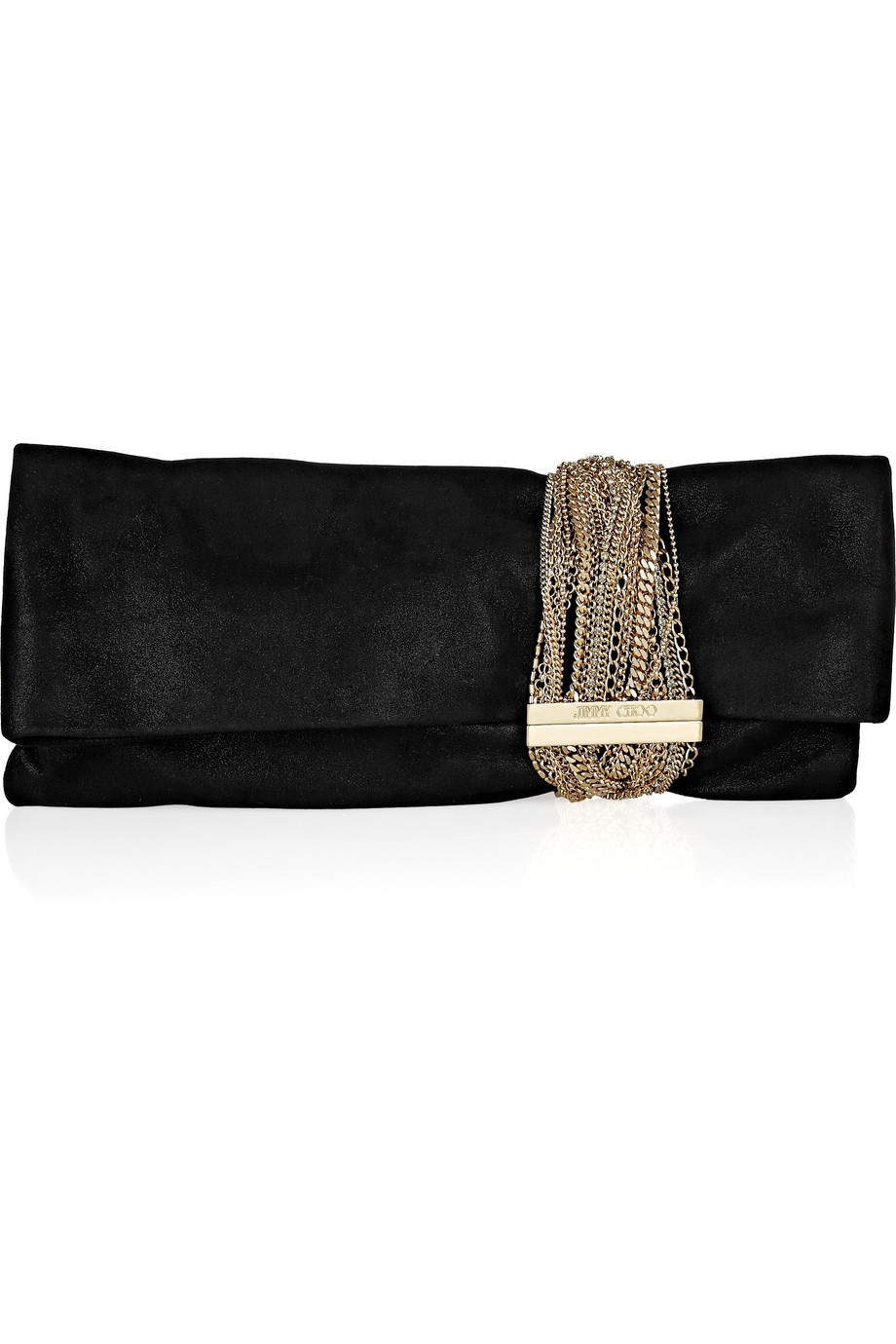 jimmy choo chandra chainembellished glittered suede clutch in black lyst. Black Bedroom Furniture Sets. Home Design Ideas