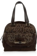 Jimmy Choo Justine Small Studded Suede and Leather Tote - Lyst